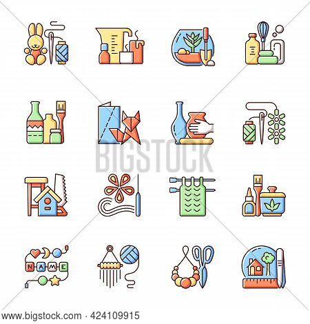 Trending Hobbies Rgb Color Icons Set. Home Business. Boho Style. Craft Activity. Creative Reuse. Hom