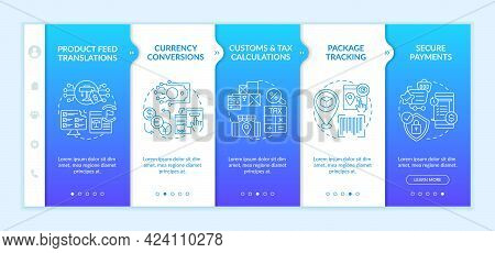 International Retailing Service Onboarding Vector Template. Responsive Mobile Website With Icons. We