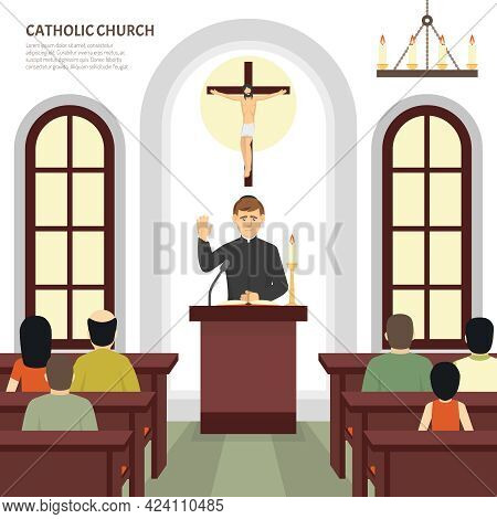 Color Flat Illustration Depicting Catholic Church Priest And Crucifix Vector Illustration