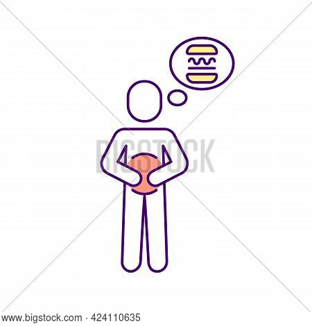 Hungry Rgb Color Icon. Isolated Vector Illustration. Wanting To Eat. Thinking About Food. Diabetes S