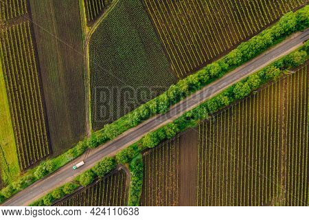 Winding Country Road In The Field. Aerial View Of A Field With A Asphalt Road. Faming Life Scenery.