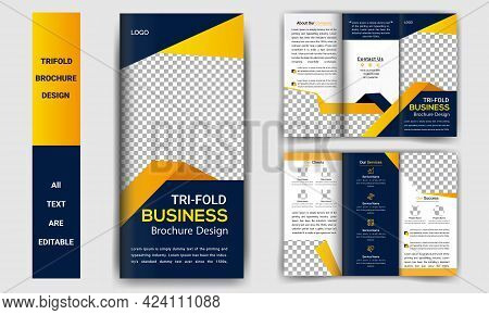 Tri Fold Brochure Template Corporate Business Modern Profile Vector Gradient Shapes Design