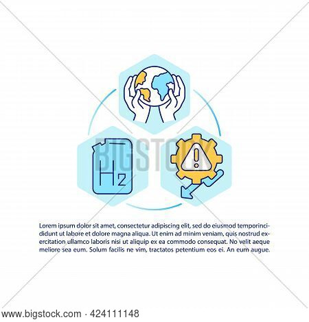 Hydrogen Innovations Concept Line Icons With Text. Ppt Page Vector Template With Copy Space. Brochur