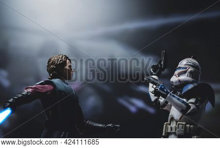 JUNE 17 2021: Star Wars The Clone Wars General Anakin Skywalker and Clone Captain Rex ready for action - Hasbro action figure