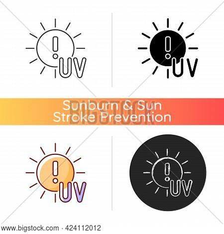 Danger Of Uv Rays Icon. Ultraviolet Exposure Risk During Summer. Caution To Prevent Heat Exhaustion.