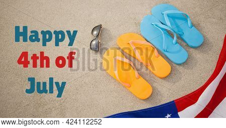 Composition of happy 4th of july text with american flag, sunglasses and flip flops. united states of america celebration, holiday, patriotism and independence concept digitally generated image.