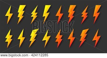 Yellow And Orange Lightning Bolt Icons Collection. Flash Symbol, Thunderbolt. Simple Lightning Strik