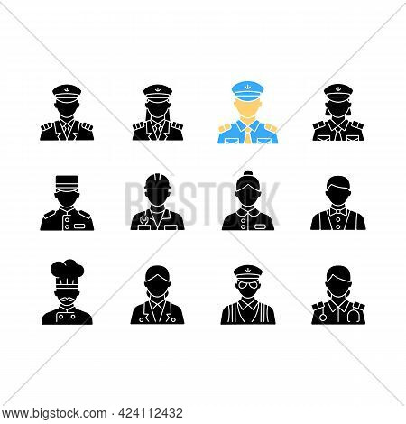 Cruise And Hotel Staff Black Glyph Icons Set On White Space. Service Providers For Customers. Comfor