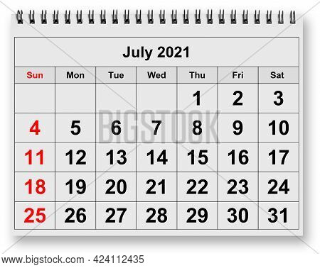 One Page Of The Annual Monthly Calendar - July 2021