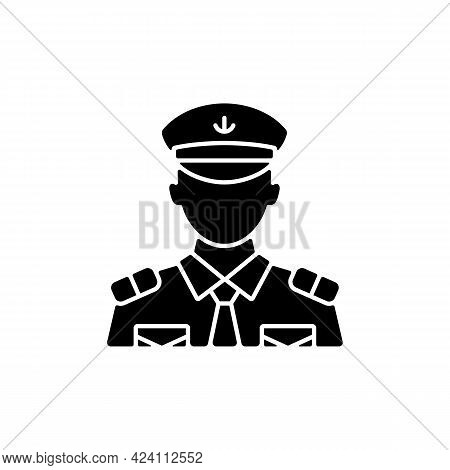 Male Chief Officer Black Glyph Icon. Helping Captain Organize Comfortable Trip. Controlling Crew. Cr