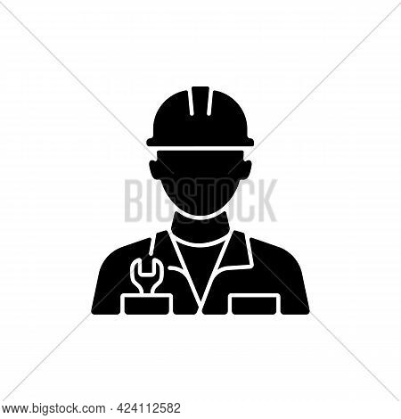 Engineer Black Glyph Icon. Fixing Ship During Cruise. Keeping Mechanisms In Good Shape. Navigation A