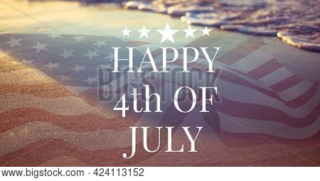 Composition of happy 4th of july text over american flag and sea. united states of america celebration, holiday, patriotism and independence concept digitally generated image.