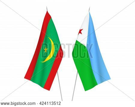 National Fabric Flags Of Islamic Republic Of Mauritania And Republic Of Djibouti Isolated On White B