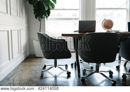 Modern working space in a living room