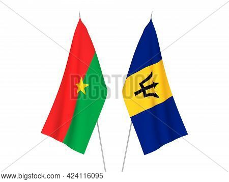 National Fabric Flags Of Barbados And Burkina Faso Isolated On White Background. 3d Rendering Illust