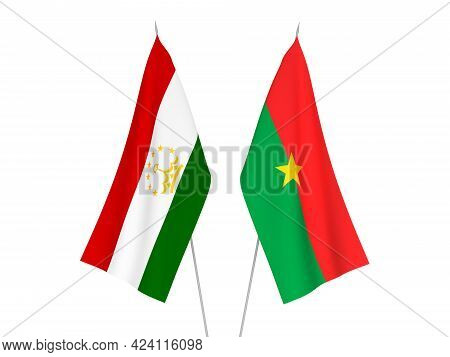 National Fabric Flags Of Tajikistan And Burkina Faso Isolated On White Background. 3d Rendering Illu