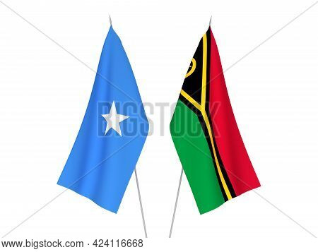 National Fabric Flags Of Somalia And Republic Of Vanuatu Isolated On White Background. 3d Rendering