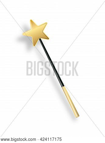 Vector Illustration Of Miracle Magical Stick With Sparkle Isolated On Transparent Background. Magic