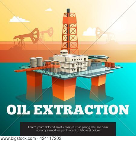 Offshore Platform Oil Rig To Drill Wells Extract And Process Oil And Natural Gas Isometric Vector Il