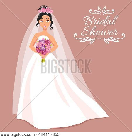 Bridal Shower Cartoon Invitation With Beautiful Young Bride In White Dress And Veil On Rose Backgrou