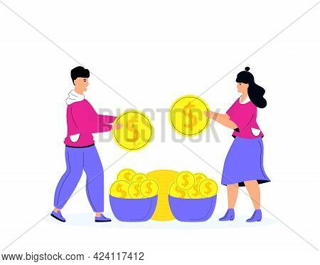 People Are Allocating Coins Into More Than One Basket. Business Diversification Concept