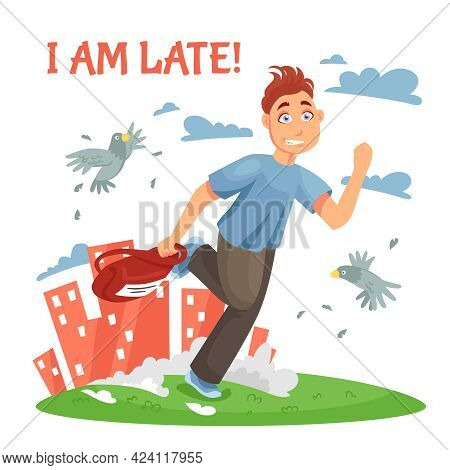 Late Teenager Running To School And Disturbing The Birds At Urban Landscape Background Cartoon Vecto