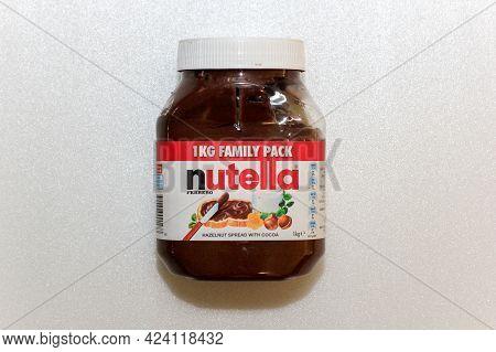 Labuan,malaysia-jun 15,2021:close Up Nutella Hazelnut Spread With Cocoa Can. Nutella Contains A Smal
