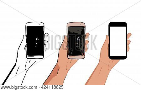 Vector Set Of Hand Drawn Phone In Different Styles. Black And White Sloppy Sketch, Freehand Drawing