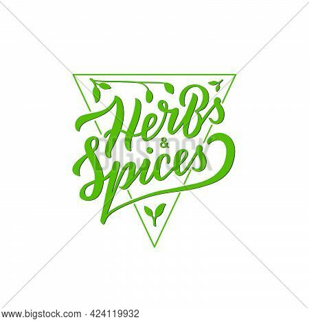 Vector Illustration Of Herbs And Spices Triangle Logo With Lettering For Banner, Poster, Spice Shop