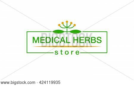 Vector Illustration Of Medical Herbs Store Logo With Changeable Text For Corporate Style, Banner, Dr