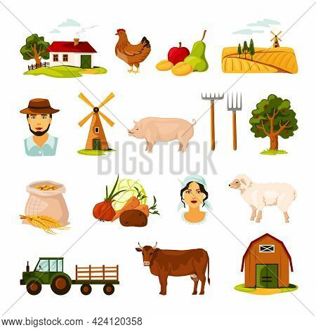 Flat Farm Set With Farmers Cattle Harvest Farmhouse And Equipment On White Background Isolated Vecto