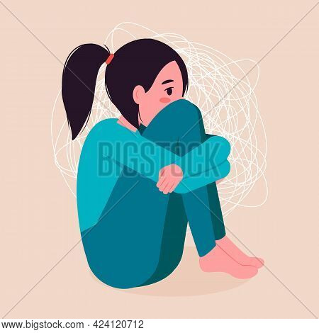 Sad And Lonely Woman In Depression. The Girl Sits And Hugs Her Knees. Vector Illustration.