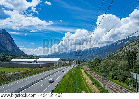 Transport Infrastructure Domination In Rhone Valley, Valais, Switzerland