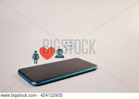 Smartphone With Scammer, Love And Wooden Icons
