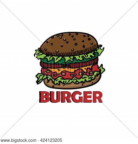 Burger Design Logo Vector. Burger Logo Restaurant