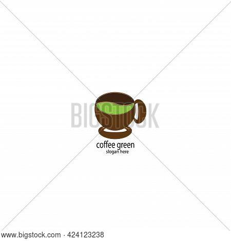 Green Coffee Design Logo Restaurant. Green Coffee Logo Vector