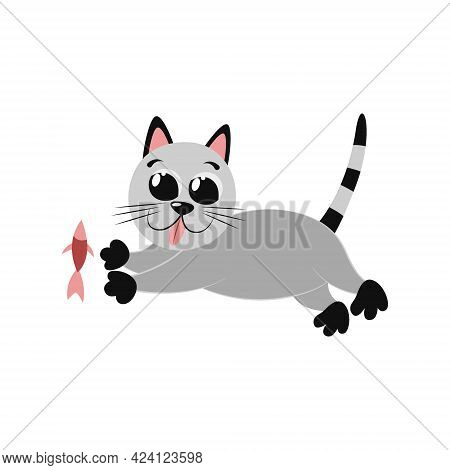 Funny Cartoon Gray Cat Runs With His Tongue Out. Delicious Salmon Fish. Lunch For Pet. Cool Flat Ill