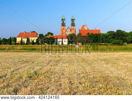 Poznan. Cathedral On Tumskiy Island On A Sunny Summer Evening.
