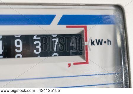A Macro View Of Electricity Watt Meter, Kilowatt Calculator Counter At Home, Savings Economy