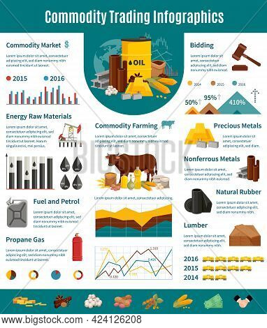 Commodity Infographics Flat Layout With Presentation Of Trading Of Nonferrous And Precious Metals Lu
