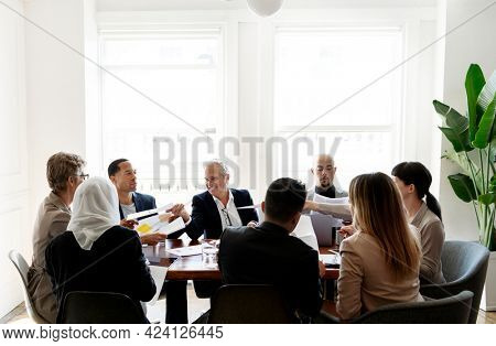 Diverse business people having a meeting