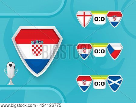 Schedule Of National Football Team Vector. European Soccer Champion Cup Are Shown.