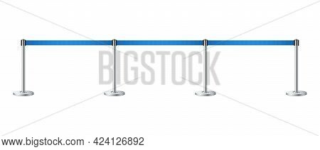 Realistic Barrier Fence With Blue Tape. Blue Carpet Event Entrance Gate, Vip Zone, Exclusive Entranc