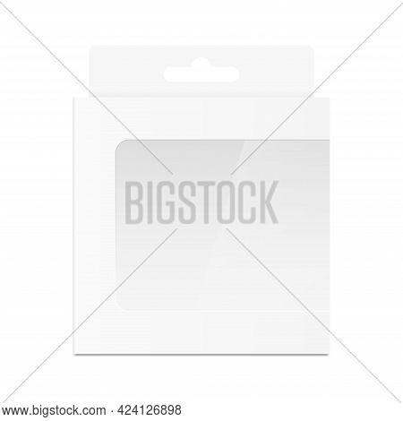 White Packaging Box With Transparent Window And Hang Tab. Realistic Blank Empty Box. Mockup Template
