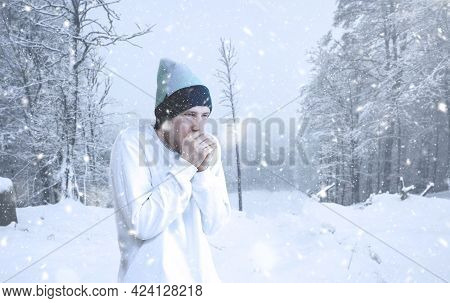A Male Person Feeling Sick, Freezing Cold Outside, Winter Snowy Weather