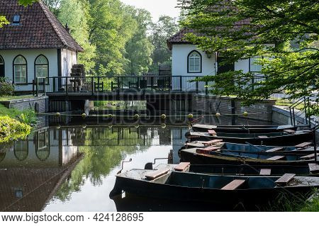Winterswijk, May 26 2020. Close-up Of The Historic Watermill Den Helder With Rowing Boats