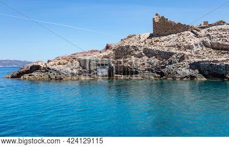 Old Wooden Door For Boats, Firopotamos, Milos Island, Cyclades, Greece