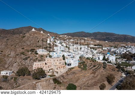 Cyclades, Greece. Ios Island, Aerial Drone View Of Chora Town