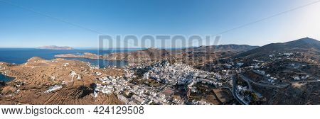 Ios Island, Greece, Cyclades. Panoramic Aerial Drone View Of Chora Town