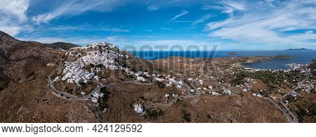 Serifos Island, Greece, Cyclades. Panoramic Aerial Drone View Of Chora Town
